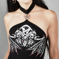 Готический Холтер Bodycon Топы женские черные череп печати панк уличная мода женские топы пентаграмма выдалбливают с открытыми плечами Топ
