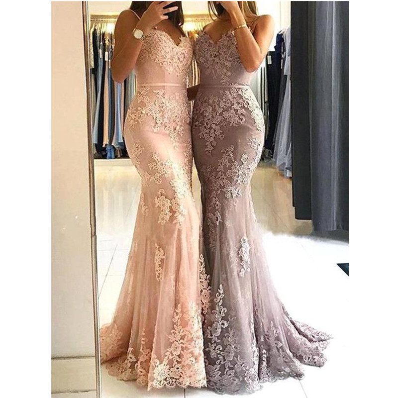 Charming Pink Sweetheart Mermaid Long   Prom     Dresses   Elegant Lace Appliques   Prom   Gowns Spaghetti Strap Backless Party   Dresses