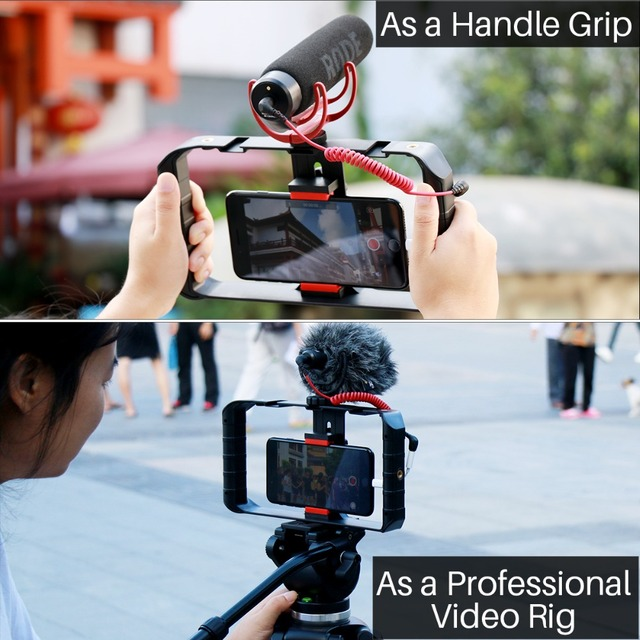 Ulanzi Smartphone Video Rig Case Filmmaking Recording Vlogging Gear for iPhone X iPhone 7 Plus Android Videomaker  4