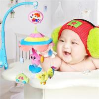 Kids Crib Appease Electric Musical Mobile Baby Rattle Rotating Toy Musical Bed Bell with Soft Colorful Plush Dolls Toy