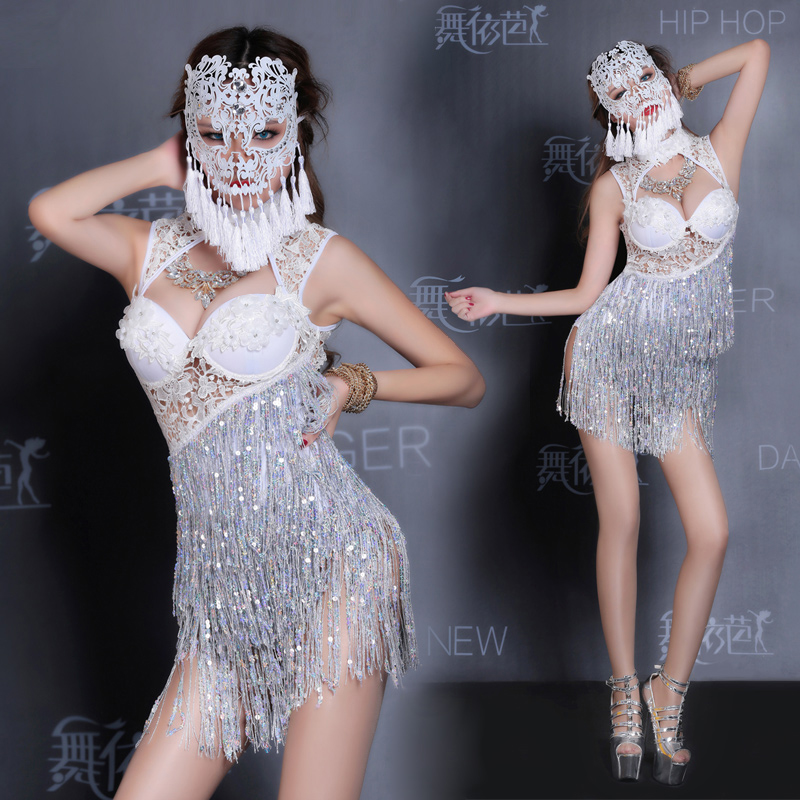 <font><b>2017</b></font> Rushed <font><b>Dance</b></font> Club <font><b>Bar</b></font> <font><b>Ds</b></font> Costume <font><b>Sexy</b></font> Fringe Singer Dj Clothing Latin Tassels Dress Taxi Fantasia Cosplay <font><b>Sexy</b></font> Costumes image