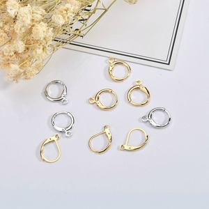 18k gold plated retro French round belt hook ring hook DIY homemade earring material accessories(China)