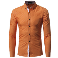 Brand 2017 Fashion Male Shirt Long Sleeves Tops Classic Lined With Dark Lines Mens Dress Shirts