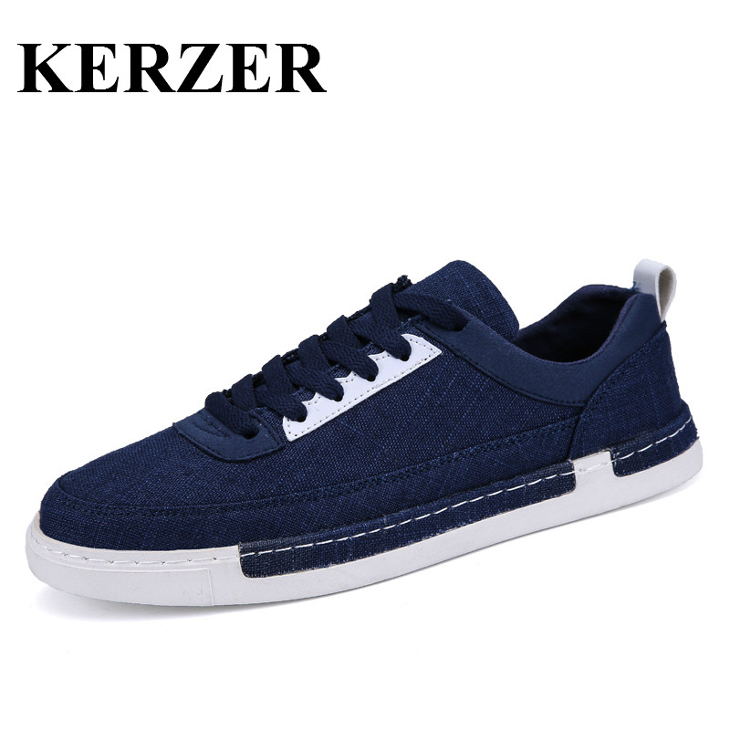 Kerzen Store KERZER 2017 Canvas Skateboard Shoes For Man Gray/Black Mens Trainers Sport Comfortable Skateboarding Sneakers Canvas