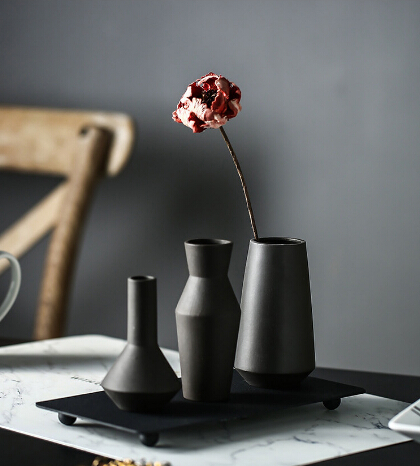 4pcs/lot New Creative Metal <font><b>Magnetic</b></font> Ceramic Vase Set Nodic minimalist Vases with Plate Set Grey Pottery <font><b>Flower</b></font> <font><b>Pot</b></font> Set image