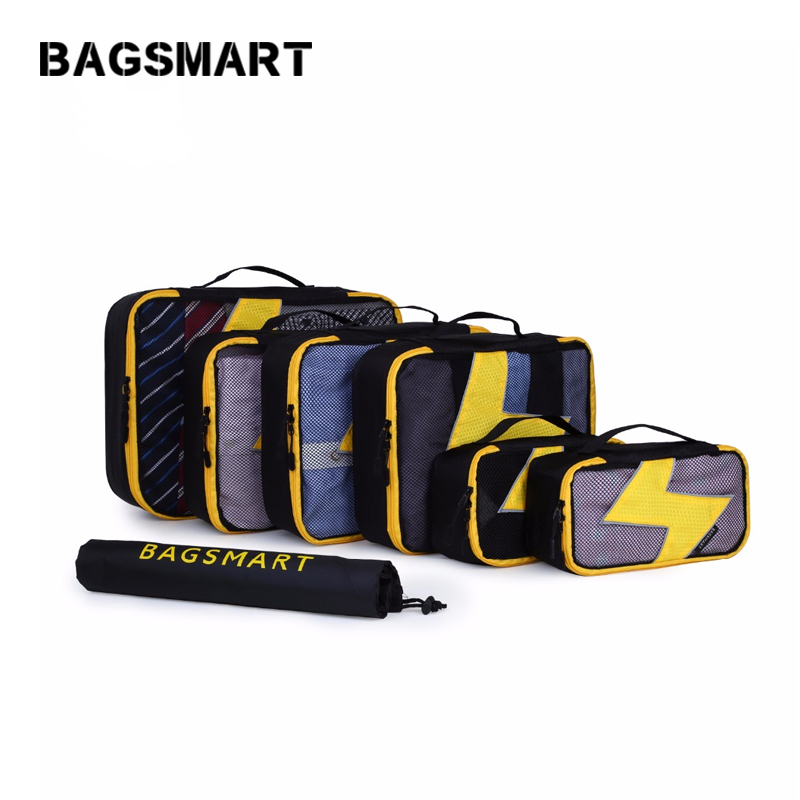BAGSMART 7 Pcs/Set Nylon Packing Cubes For Clothes Travel Bags For Shirts Waterproof Duffle Bag Organizers with Shoes Bag Unisex