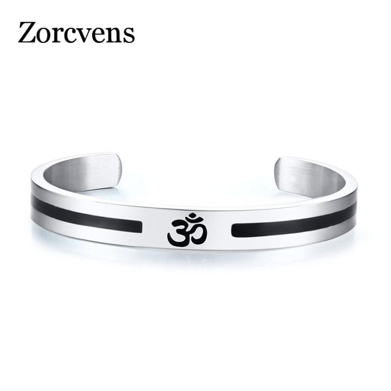 715a02c0be45d0 LETAPI Casual AUM OM Bangle For Men Women Simple Stainless Steel Open Cuff  Bracelets Yoga Religious