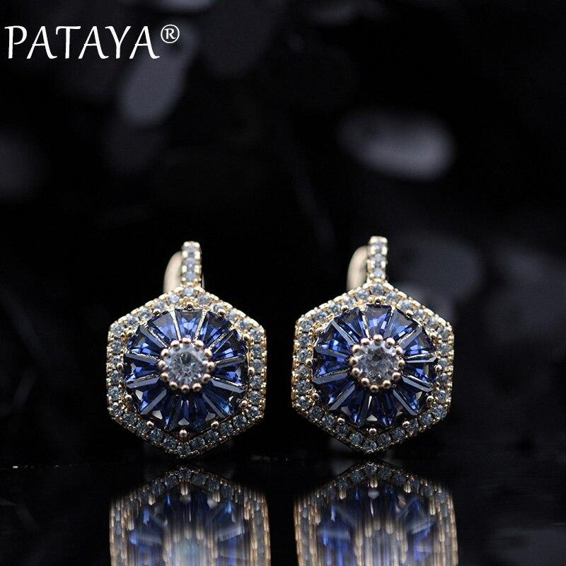 PATAYA nouveau Design Original limité 585 or Rose de luxe Micro-cire incrusté Zircon naturel boucles d'oreilles femmes bijoux de fête de mariage