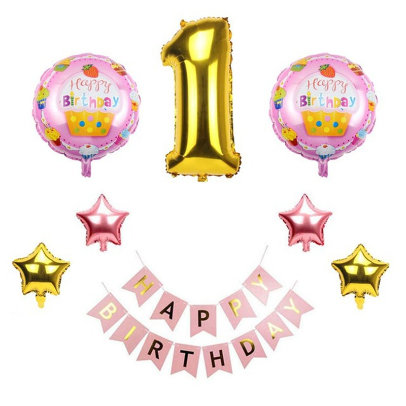 Baby 1st Birthday Balloons Blue Pink Foil Water Balloons Babies First Birthday Decoration One Year Birthday Kids Party Tool Sets