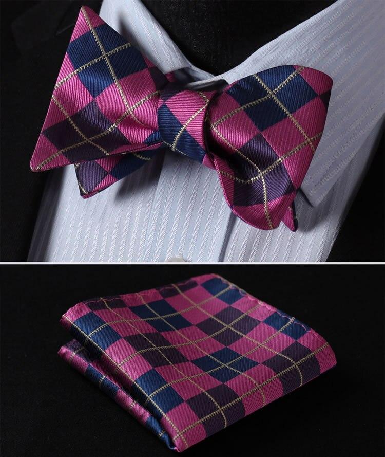 BC4008V Navy Blue Pink Check Silk Men Woven Self Bow Tie Pocket Square Set