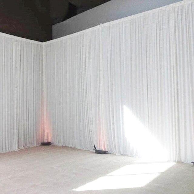 Rideau de toile de fond de mariage de tissu de soie de glace blanche pour la décoration d'étape 4*9 mètres