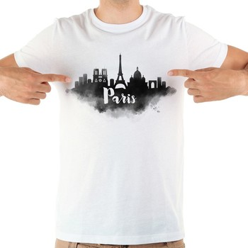 France Paris landmark watercolor funny tshirt men new white short sleeve casual homme cool t shirt