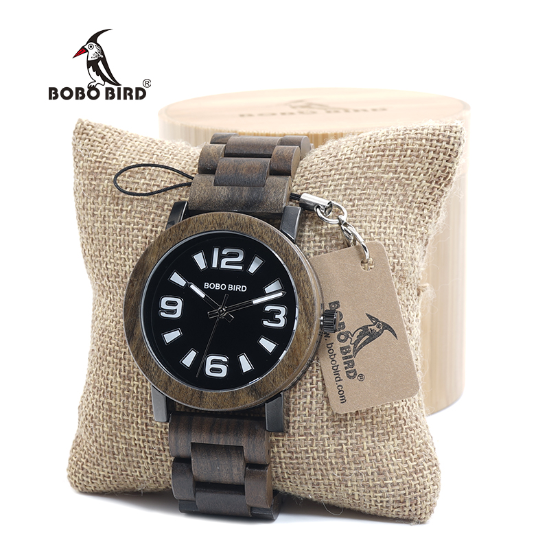BOBO BIRD Mens Verawood Wooden watches Top Brand Luxury Quartz Wristwatch with Fold the strap Wood Band in Gift Box saat erkek bobo bird wh05 brand design classic ebony wooden mens watch full wood strap quartz watches lightweight gift for men in wood box