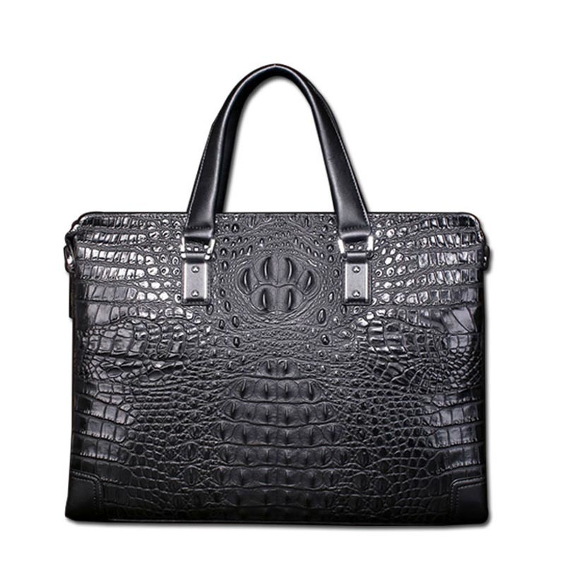 Best New high quality crocodile pattern male briefcase 100% leather business casual men bag shoulder bag Messenger Free shipping