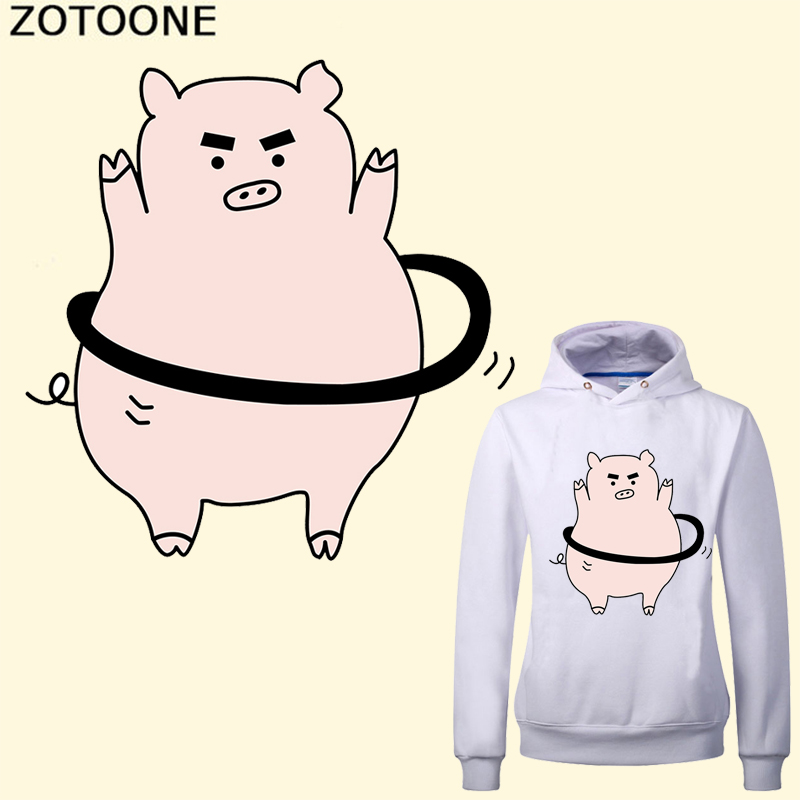 ZOTOONE Funny Pig Heat Transfer Iron on Clothes Patches Applique Washable Badges DIY Patch Thermal Stickers Gifts