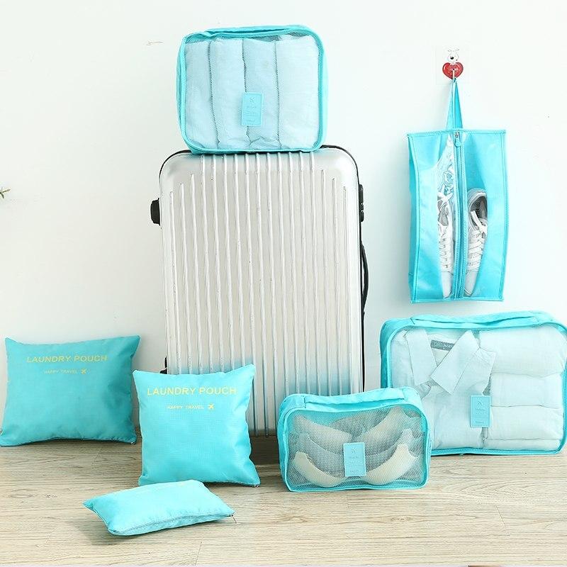 Multifunción 7 unids/set bolsa de viaje para mujer ropa interior sujetador embalaje cubo organizador de equipaje bolsa de gran capacidad bolsos