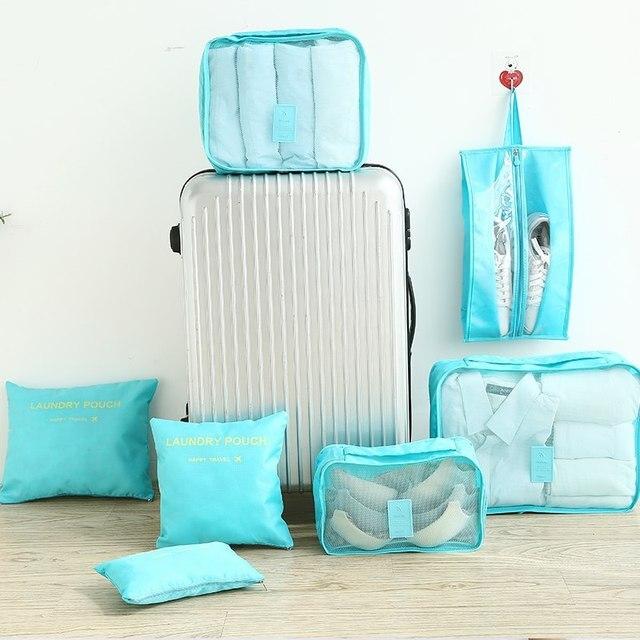 Multifunction 7 Pcs/set Women Travel Bag Clothes Underwear Bra Packing Cube Luggage Organizer Pouch Large Capacity  Handbags