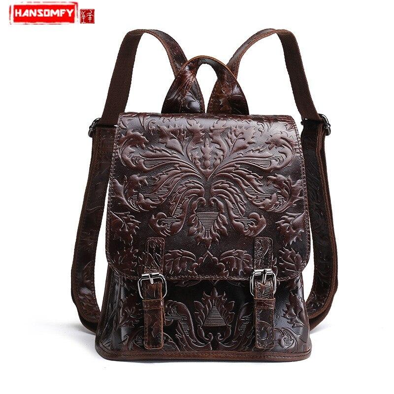 BJYL New Women Backpacks oil wax genuine leather simple shoulder bags embossed retro flowers travel backpacks