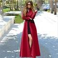 Тонкий Красный Пальто 2016 Осень Зима Мода Элегантность Женщины Кашемир Молния Полушерстяные Длинное Пальто Женщин Casaco Feminino