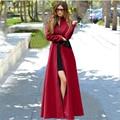 Delgado Abrigo Rojo 2016 Otoño Invierno Moda Elegancia Mujeres de Cachemira Mezcla de Lana Con Cremallera Abrigo Largo Mujer Casaco Feminino