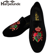 Harpelunde Slip On Men Dress Shoes Bullion Black Velvet Loafers