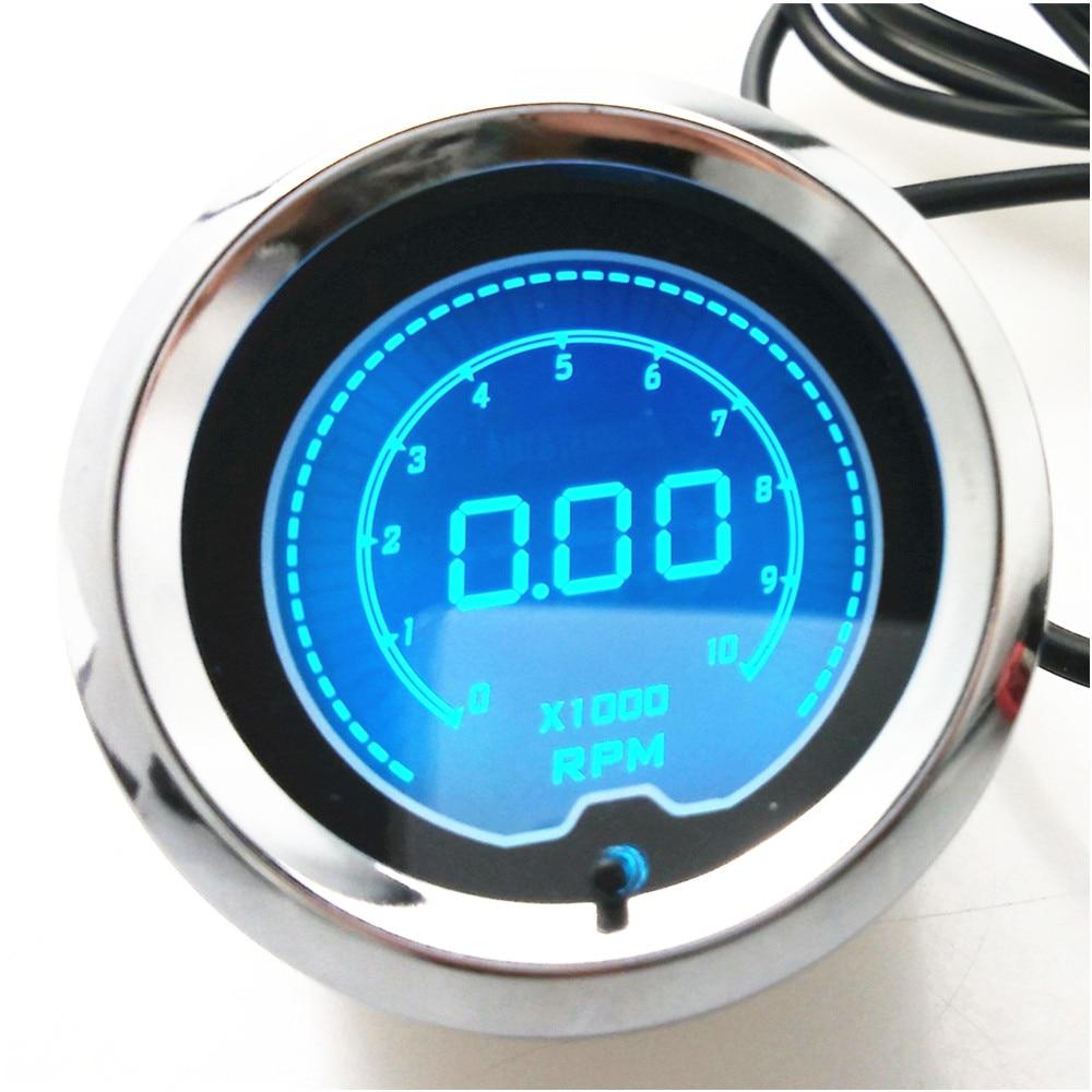 1 pcs 2 52mm 7 colors LED Tacho Tachometer RPM Car Digital LED Gauge Tachometer 2 52mm auto car tachometer gauge analog carbon fibre face 0 8000 rpm white background light black bezel