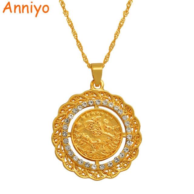 Anniyo 34 Cm Turke Münze Anhänger Halsketten Für Frauen Gold Farbe