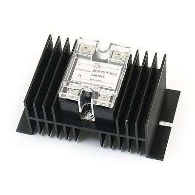 AC 28-280V 50A Output 4 Screw Terminal 1 Phase Black Heatsink Solid State Relay high quality ac ac 80 250v 24 380v 60a 4 screw terminal 1 phase solid state relay w heatsink