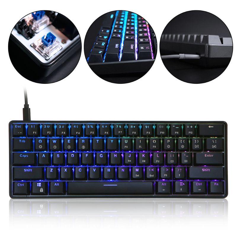 Clavier mécanique filaire rétro-éclairé RGB LED Portable Mini clavier de jeu étanche 61 touches commutateurs Gateron pour PC Mac