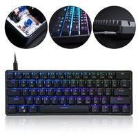 RGB LED Backlit Wired Mechanical Keyboard Portable Compact Waterproof Mini Gaming Keyboard 61 Keys Gateron Switchs for PC Mac