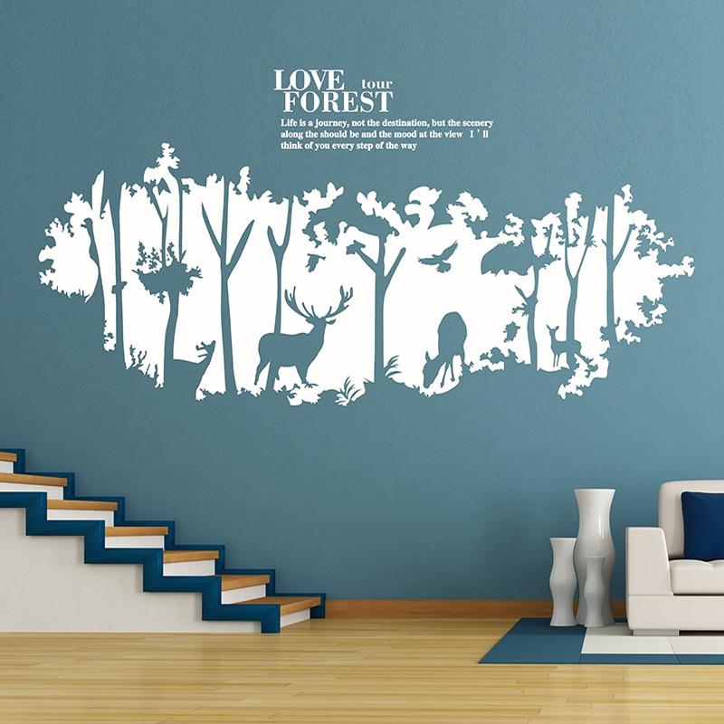 DIY Wall Sticker Mural Art Deer Forest Sticker Home Decor Accessories Wall Paper <font><b>for</b></font> Living Room Kids <font><b>Decals</b></font> Decoration