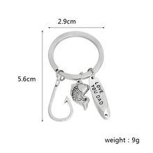 Fish Hooks Keychain Metal Silver color Love you dad Key chain Keyring for father daddy Fashion Jewelry Father's Day gift