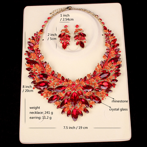 Image 5 - New Gorgeous Bridal Jewelry Sets  Wedding Necklace Earring Set For Brides Party Big Crystal  Accessories Statement Necklace Set
