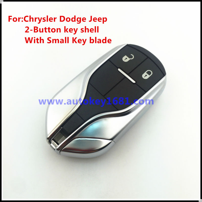 New Keyless 2 Button Entry Fob Remote Key Case Shell Fits for Chrysler Dodge Jeep with uncut small key blade 2-BUTTON With logo brand new high quality remote key keyless alarm 2 button for renault laguna smart card with insert small key blade 434mhz