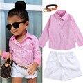 2016 Girls Summer Clothes Suit shirt + shorts + belt 3pcs / set pink striped shirt fashion suit Kids suit Free shipping