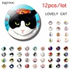 12pcs Cute Cat Fridge Magnet Sets Lovely 25MM Glass Note Holder Removable Magnets Refrigerator Sticker Magnetic Home Decor 1
