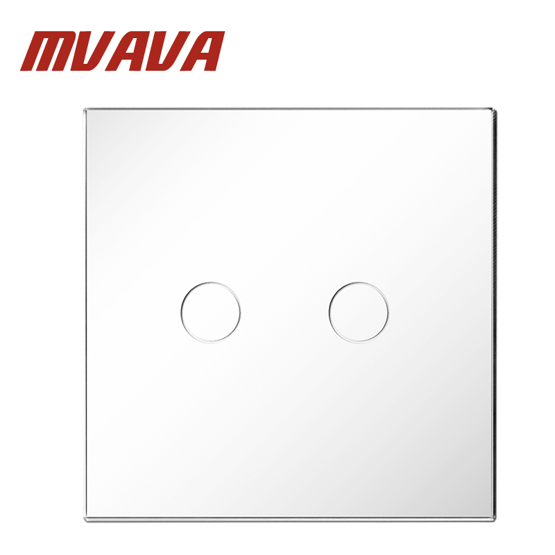MVAVA EU Standard Remote Switch Luxury White Crystal Glass Panel 220~250V 2 GANG Wall Light Remote Touch Switch Free Shipping mvava 3 gang 1 way eu white crystal glass panel wall touch switch wireless remote touch screen light switch with led indicator
