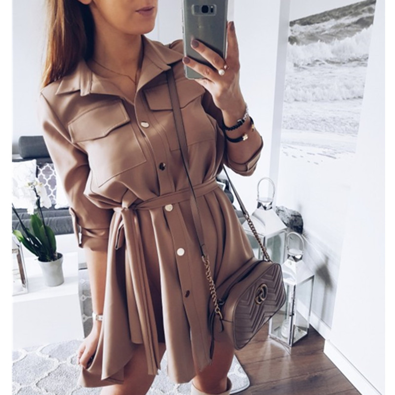 Women Shirt Dress Sexy Slim Single Breasted Turn-down Collar Mini A-line Dress Sashes High Waist Pleated Wrap Dresses Vestidos Платье