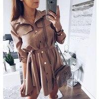 Women Shirt Dress Sexy Slim Single Breasted Turn Down Collar Mini A Line Dress Sashes High