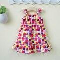Verão 1-2 anos de idade meninas do bebê one piece-dress suspender verão 100% algodão roupas de verão roupas