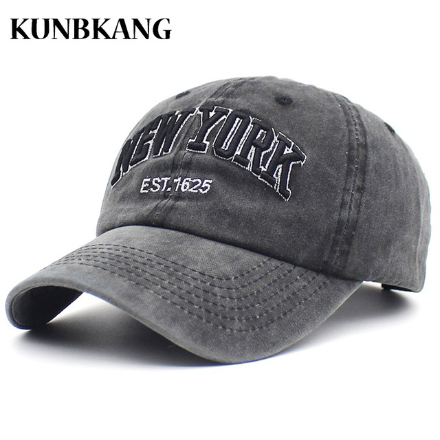 42a08706f9504 100% Washed Denim Baseball Cap NEW YORK Embroidery Casquette Dad Hat Men  Women Gorras Summer Vintage Letter Trucker Snapback Cap