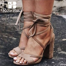 RIZABINA Women High Heel Sandals Fashion Lace Up Summer Square Heels Shoes Women Sexy Ankle Strap Wedding Sandals Size 34-43 qutaa 2017 women sandals summer genuine leather square low heel shoes ankle strap white ladies beach wedding shoes size 34 39