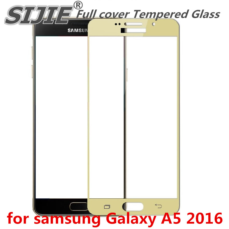 Full cover Tempered <font><b>Glass</b></font> for <font><b>samsung</b></font> Galaxy A5 2016 <font><b>A</b></font> 5 A5100 A510 A51 5.2 inch Screen Protective Black frame all edge image