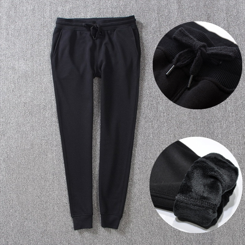 High Quality Winter Womens Black Cotton Pants Warm Thicken Velvet Pant Female Sweatpants Women High Waist Thermal Casual Trouser