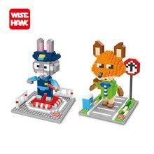 Wisehawk nanoblocks Zootopia Judy Hopps Nick Wilde plastic building blocks bricks Anime cartoon DIY model educational toys kids.