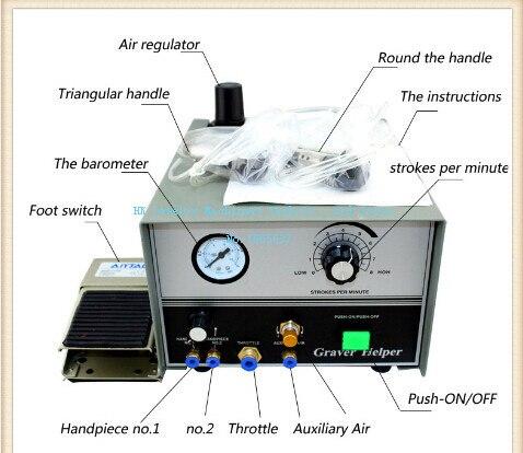 110 V main machine de gravure graver aide ensemble avec 2 pièces à main, Graver Machine de gravure bijoux équipement graveur outil