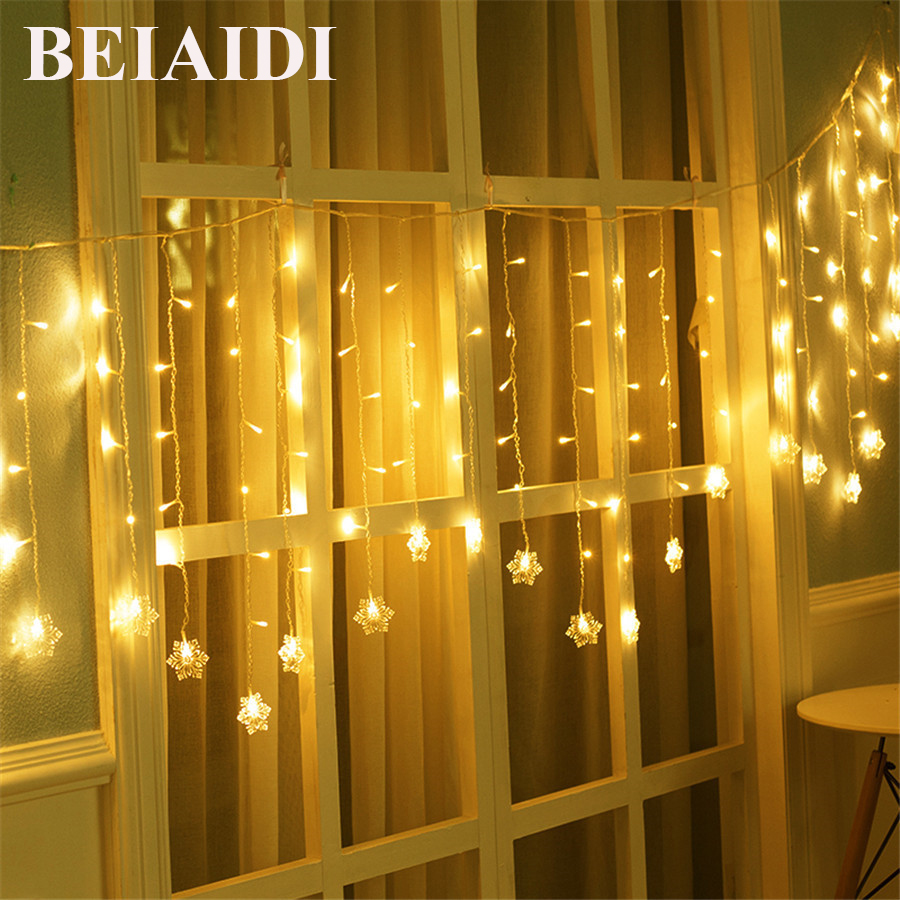 BEIAIDI 5M LED Snowflake Curtain Icicle String Light Snowflake Christmas Fairy String Garland Wedding Party Ornaments Lighting christmas ornaments print waterproof shower curtain