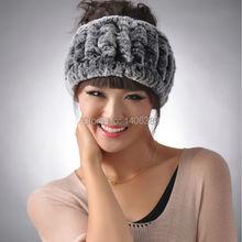 DL6020 Real Rex Rabbit Fur Headbands Natural Knitted Fur Headwear Genuine  Rabbit Fur Warm Ear Headwear 49c177481dc