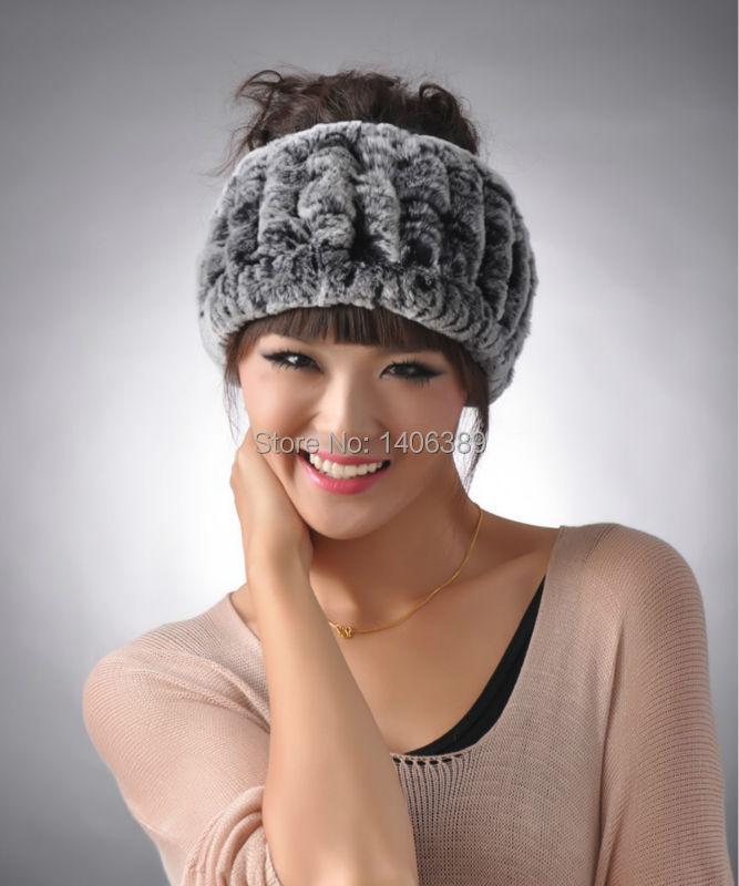 DL6020 Real Rex Rabbit Fur Headbands Natural Knitted Fur   Headwear   Genuine Rabbit Fur Warm Ear   Headwear   Winter real fur Hat