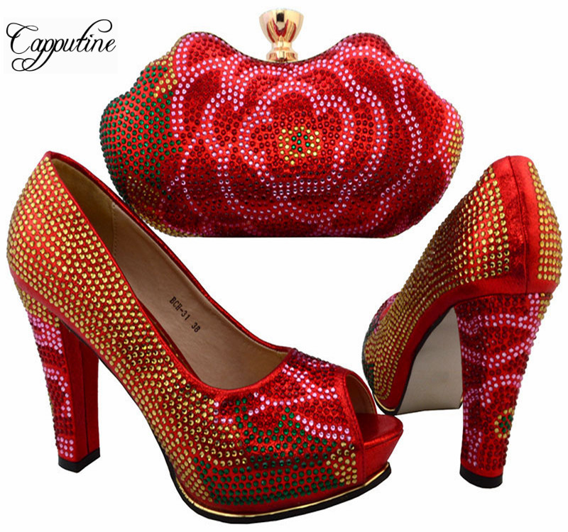 Hot Sale Italian Elegant Rhinestone Shoes And Purse Set African Style Woman High Heels Shoes And Bag Set For Party Red BCH-31 gg6 2016 new design hot sale elegant and luxury rhinestones african handbag for wedding party